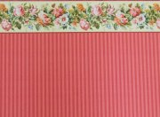 Stripe Dollhouse Wallpaper with Flower Border
