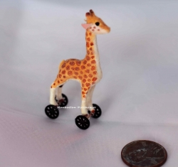 Dollhouse Miniature Giraffe on Wheels