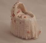 Rosette Dollhouse Bassinet with Baby Bottle