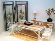 Modern Miniature Dining Room Set with Cypress Wood Console