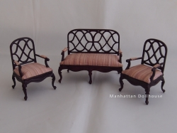 Lexington Half Inch Miniature Living Room Set in Mahogany