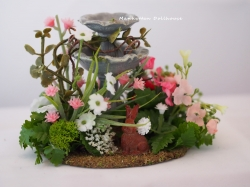 Miniature Flowered Fountain with Bunny