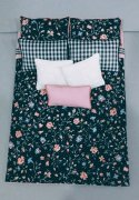 Black and Pink Floral Bed Cover and Sheets