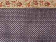 Navy with Flowers Dollhouse Wallpaper