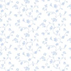 Soft Blue Flowers Dollhouse Wallpaer