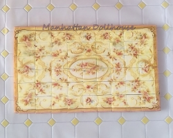 Pink & Pale Yellow Vintage Rose Floor Tiles