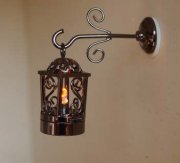 Gramacy two piece black dollhouse coach lamp-amber light