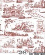 Rose Hill Toile Red on White Dollhouse Wallpaper