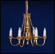 Dollhouse 6-Arm Brass Chandelier C21