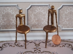 Miniature Bronze Chairs by J. Getzan