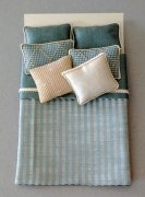 Blue Silk Dollhouse Bed Cover Set