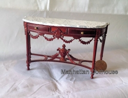 Mahogany Table with Faux Marble by Bespaq