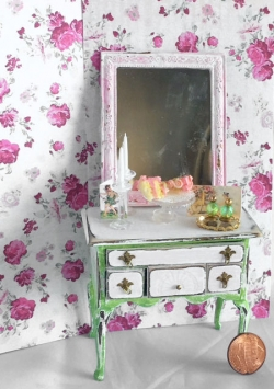 Hand-Painted Miniature Chest with Mirror and Accessories