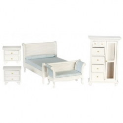 White Dollhouse 5 Piece Bedroom Set-Double
