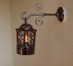 Two Piece Fancy Black Coach Lamp with Amber Light W3 A