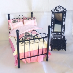 Miniature Dollhouse French Style Bed with Side Chair