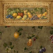 Fruit Pattern with Border Dollhouse Wallpaper