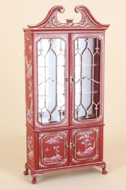 Fancy Mullioned Cabinet by Bespaq in Red