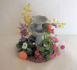 Miniature Fountain with Flowers