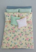 Yellow and Green Dollhouse Bed Comforter