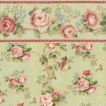 Sage Green and Rose Wallpaper with Border