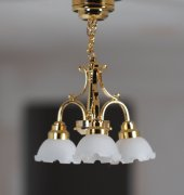 3-Arm Brass Miniature Lamp with Translucent White Shades C7