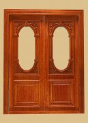 Dollhouse Miniature Penniman Exterior Double Door in Walnut