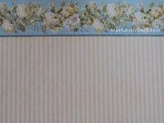 Yellow Stripe Wallpaper with Flower Border 568b
