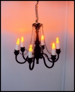 Dollhouse 6-Arm Chandelier in Black With Amber Lights C13
