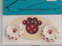 Red and White Paw Design Miniature Dog Dishes and Mat
