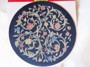 Round Navy Woven Rug