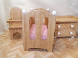 3 Piece Wood Miniature Nursery Set