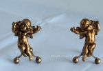 Dollhouse Miniature Andirons-Gold Cherubs