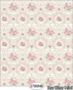 Danielle Floral Damask-Beige, Pink and White