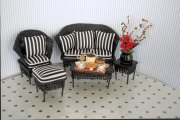 Black Wicker Miniature Settee Set with Pillows
