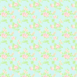 Aquapink Flowers Dollhouse Wallpaper