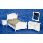 White 4 Piece Dollhouse Bedroom Set-Double