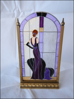 Art Deco Purple Lady Stained Glass Screen by Barbara Sabia