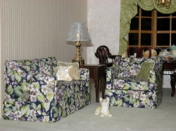 Green Floral Sofa and Chair