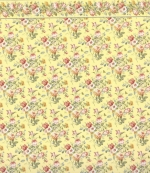 Yellow and Rose Dollhouse Paper with Border