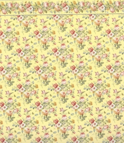 Yellow and Rose Dollhouse Pape with Border 2