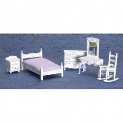 White Dollhouse 5 Piece Bedroom set-Violet Flowers