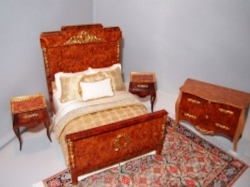 Tony Jones Miniature Wood Bedroom Set with Custom Bedding