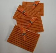 Miniature Bamboo Mat and Napkin Set in Red