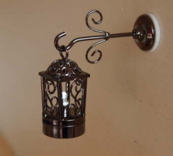 Two Piece Fancy Black Coach Lamp with Natural White Bulb W3 BL
