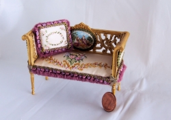 Exquisite Hand-Painted Couch with Pillow