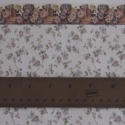 Dollhouse Wallpaper with Rose and Lavender Flowers and Border