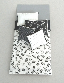 Modern Black and White Dollhouse Bed Cover Set
