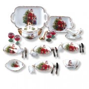 Miniature Christmas Dinner Service for 4 by Reutter Porcelain