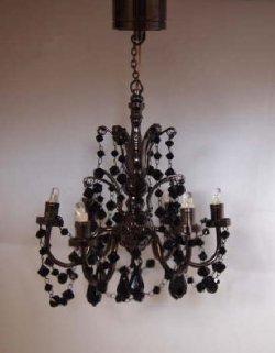 black crystal 6 arm dollhouse chandelier c30 c30 189. Black Bedroom Furniture Sets. Home Design Ideas